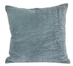 Velvet Running Stitch blue Cushion Cover pillow case - $23.00