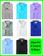 Berlioni Italy Men's Slim-Fit Premium French Convertible Cuff Solid Dress Shirt