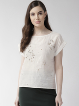 Off white Embellished High Low Boxy Fit Top - $34.00