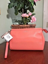 New Coach Wristlet Bag Legacy Perforated Leather Clutch Pink Coral 48957... - $74.24