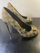 Gucci / Italia Monogramma Tela Sopra Pelle Open Toe Pompe/Tacchi Taglie 37.5 - $226.52