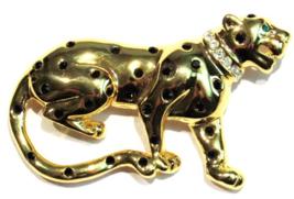Leopard Cat Pin Brooch Crystal Black Spots Clear Collar Gold Tone Metal - $16.99