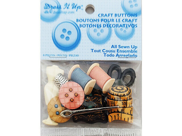 Jesse James Dress It Up Buttons, All Sewn Up, Set of 8
