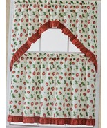"Kitchen Curtains Set: 2 Tiers (30""x 36"") & Swag (60""x 36"") STRAWBERRY BL... - $16.82"