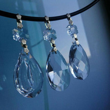 5pcs Clear 38mm Crystal Dorp Hanging Chandelier Lamp Parts Pendant Gold Bowties - $7.50