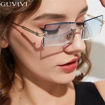 Guvivi Rectangle Rimless Sunglasses Fashion Women Men Metal Frame Sun Glasses Sh image 2