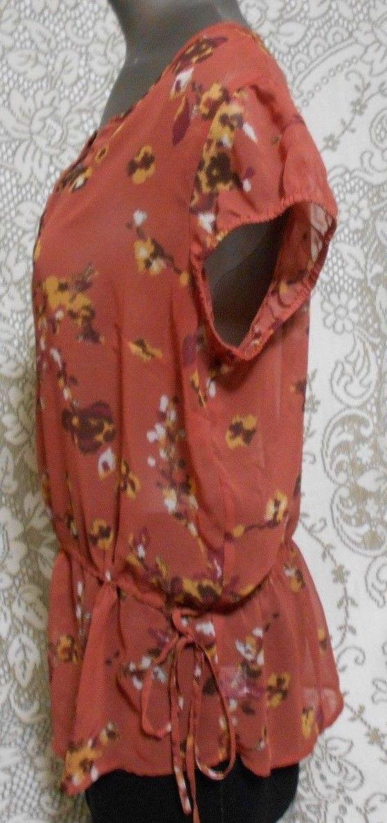a.n.a. Size PL Dark Orange Floral Henley Neck Short Sleeve Semi Sheer Top