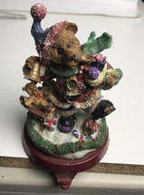 Vintage Christmas Stocking Holder Hanger Tree Teddy Bear Holiday Metal Base - $24.75