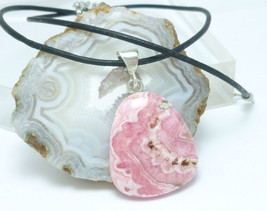 Pink Rhodochrosite Natural Gemstone Sterling Pendant Black Leather Cord - $34.00