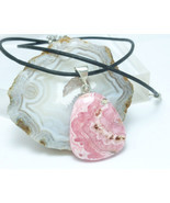 Pink Rhodochrosite Natural Gemstone Sterling Pendant Black Leather Cord - £24.90 GBP