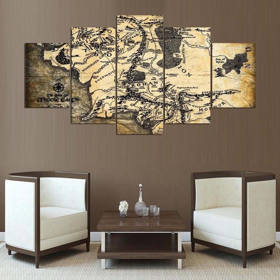 Five Piece Large Framed Middle Earth Map Rustic Lotr Canvas Print Wall Art Home