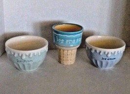 Casa Lorren Ice Cream Bowls and Cup Cone Ceramic Pastel Painted White Bl... - $15.85