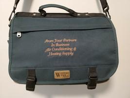 Western Pack Vintage Briefcase Green Leather Bottom Rare Vintage Bag - $31.10 CAD