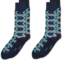 Pack Of 2 ---Alfani Blue Men's Casual Crew Socks Black Gray Shoe Size 7-12 - $10.88
