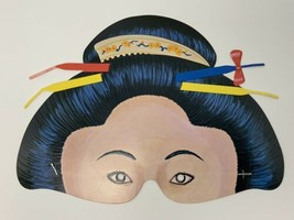 Vintage Geisha Girl Paper Eye Mask Half Face Halloween Mardi Gras - $17.77