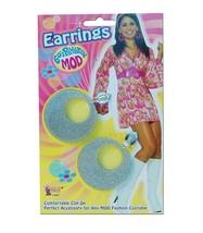 Silver Mod Glitter Ear Rings,   1960s 1970s Jewellery Fancy Dress Access... - $4.50