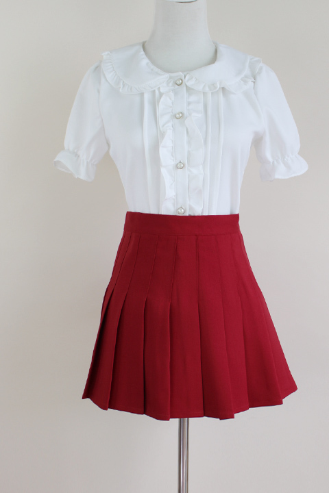 Girls Pleated School Style Skirt Short A-line Pleated Skirt, Red, Pink(US0-US16)