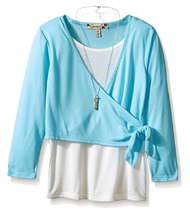 Speechless Girls' Layered-Look Top with Necklace,Z2271D02KDDM, Ivory/Blu... - $17.75