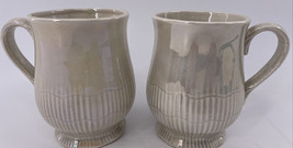 Fitz & Floyd Footed Oster Shell Iridescent Set of 2 Coffee Tea Mugs Stamped - $12.86