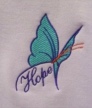 Purple/Turquoise Butterfly HOPE Crew 4X Orchid Sweatshirt Cancer Aware U... - $28.39
