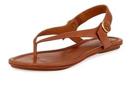 3fa319bbdfc7 Tory Burch Minnie Flat Thongs Sandals Shoes Flip Flops 7 Tan Leather Logo -   75.00