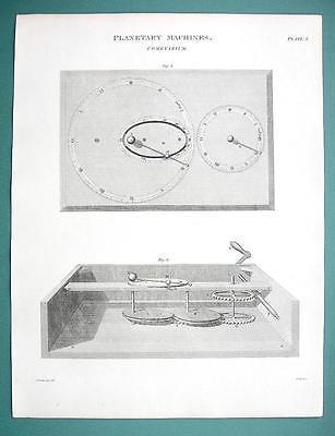 PLANETARY MACHINES Cometarium - (2) Two 1820 Engraving Prints by A. Rees