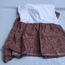"Dark Rose Paisley Full Sized Bedskirt Laura Ashley Burgundy 13"" Drop - $29.02"