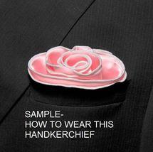 BLACK Silk RED border Trim Pocket square Round Handkerchief edge NEW $45 image 5