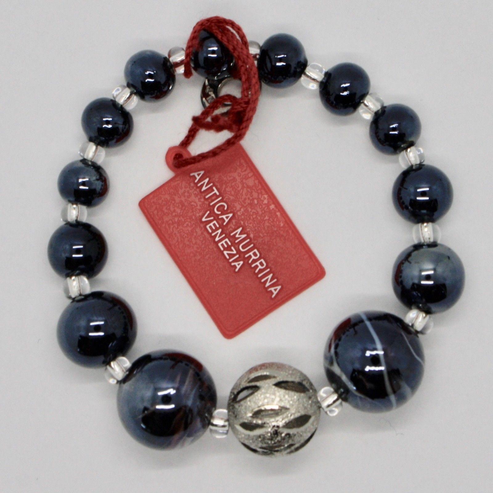ANTICA MURRINA VENEZIA BRACELET WITH MURANO GLASS BLACK SILVER BEIGE BR678A14