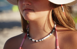 North Star. Handmade Black and White Polymer Clay Heishi Choker Necklace... - $18.00+