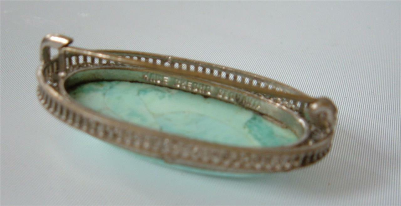 9fb22b101 Vintage Art Deco Filigree Czech Glass Brooch Pin Turquoise Silver Rhodium  Peking