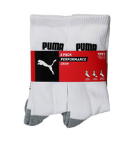 Puma Men's 6 Pack Performance Crew Gym Sport Cushioned Athletic White Socks