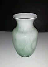 8 Inch Crystal Vase w/ Green Swirls by Indiana Glass - $4.99