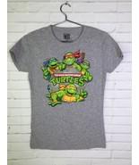 Giant TMNT Teenage Mutant Ninja Turtles Short Sleeve Shirt Gray Juniors ... - $14.95