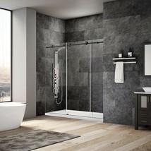 """68-72""""Wx76""""H Frameless Sliding Shower Door ULTRA-C Matte Black by LessCare - $1,217.69"""