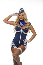 Sexy Blue Mile High Airline Stewardess Cosplay Deluxe C image 4
