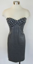 TOMMY HILFIGER Navy Polka Dot Faux Leather Strapless Sweetheart Dress 6 - $59.40