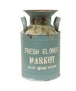 Vintage style Rustic Blue Milk Can Floral Holder display Modern Farmhous... - $44.50