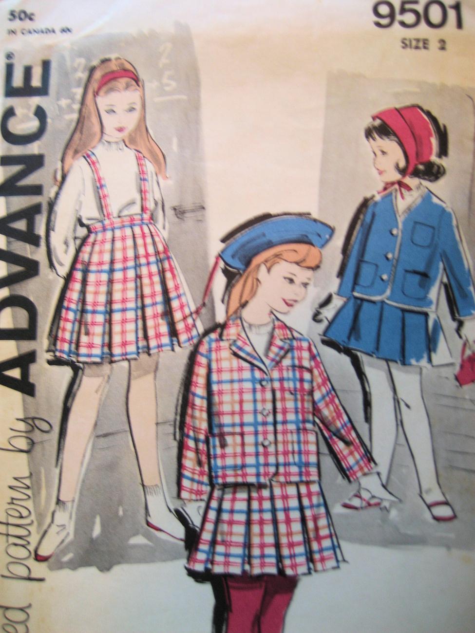 Advance 9501 Vintage 40sPattern Girls Size2 Pleated Skirt Blazer  Advance