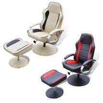 TV Recliner Chair Swivel Armchair w/ Ottoman Artificial Leather Cream/Black - $197.99