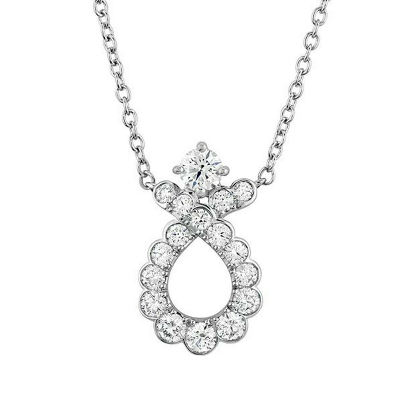 "Primary image for Classic 14K White Gold Over Round Diamond Solitaire Ribbon Pendant 18"" Necklace"