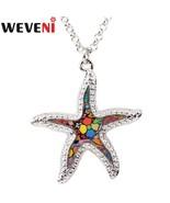 Original Metal Starfish Necklace Pendants Choker Chain Collar Ocean Anim... - $18.99