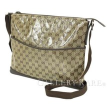 GUCCI Shoulder Bag PVC Leather Brown GG Crystal 374411 Italy Authentic 5... - $531.63