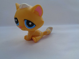 Littlest Pet Shop Orange Striped Tabby Kitty Cat #349 Blue Eyes  - $5.32