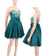 Dark emerald green taffeta /sequins strapless / PARTY /cocktail / bridesmaid /pr - $78.99