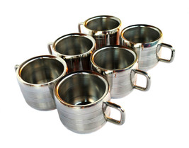 Set of 6 Stainless Steel Double Wall plan coffee/tea Line Cup Mug Coffe ... - $44.87
