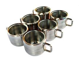 Set of 6 Stainless Steel Double Wall plan coffee/tea Line Cup Mug Coffe ... - £33.64 GBP