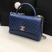 100% AUTHENTIC CHANEL CHEVRON QUILTED ROYAL BLUE MEDIUM COCO HANDLE BAG GHW image 2