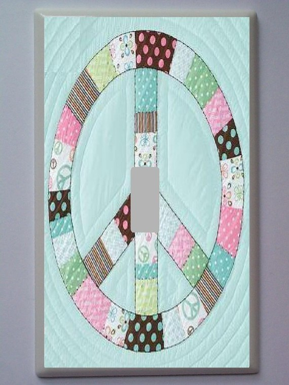Peace Sign Patch Work Light Switch Plate Pottery Barn