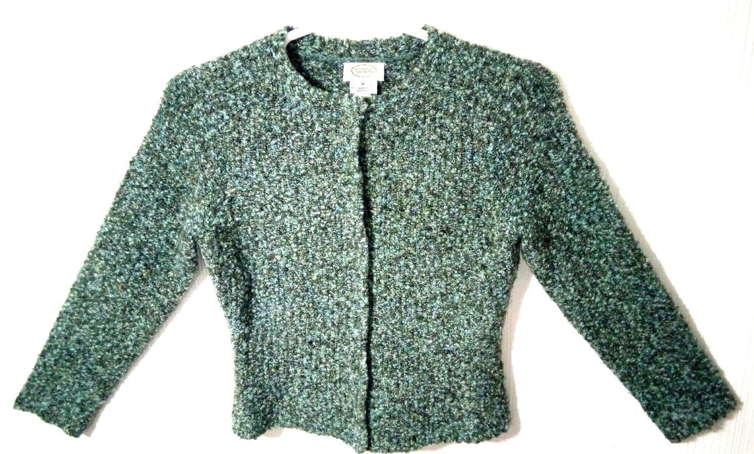 Talbots Petites Women's M Blue Green Wool Snap Buttons Sweater Cardigan image 2
